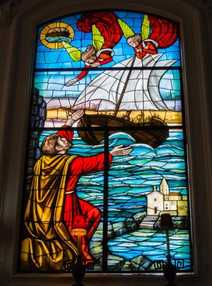Stained glass window in Catterdale di San Bertolomeo, Lipari Town, Lipari, Italy