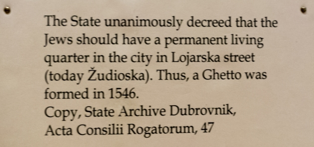 State decree creating the Jewish Ghetto in 1546, Synagogue Museum, Dubovnik, Croatia