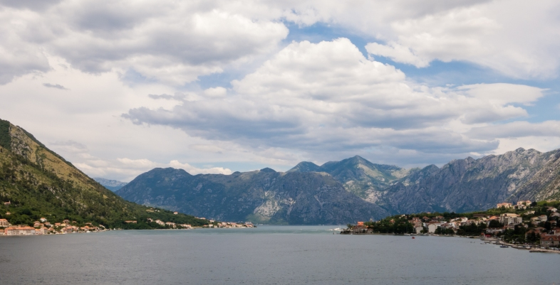 The Bay of Kotor and surrounding mountains, viewed from the harbor of Kotor, Montenegro