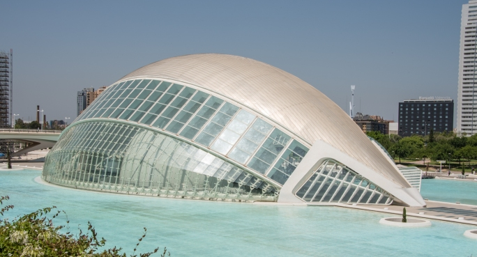 The Hemisferic (The Eye of Wisdom) -- representing the human eye, a building with a large dome film screen at the City of Arts and Sciences, Valencia, Spain