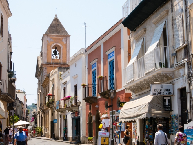 The main shopping street (a pedestian zone) of Lipari Town, Lipari, Italy