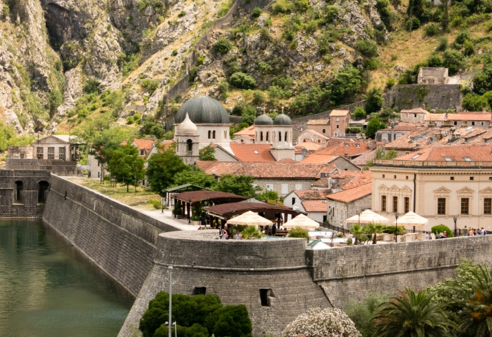 The moat formed by the Bay of Kotor and the norther city wall, Old Town Kotor, Montenegro