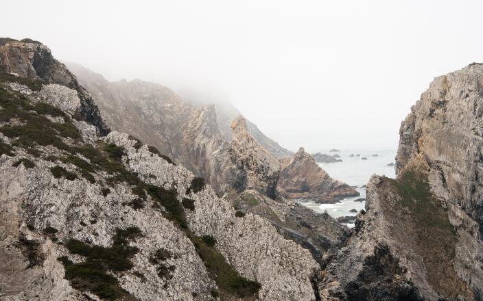 The rugged coastline at Cabo da Roca, Continental Europe's pesternmost point, Portugal