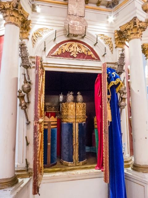 Torah Crowns on Torahs at the Scuola Greca Synagogue, Corfu, Greece