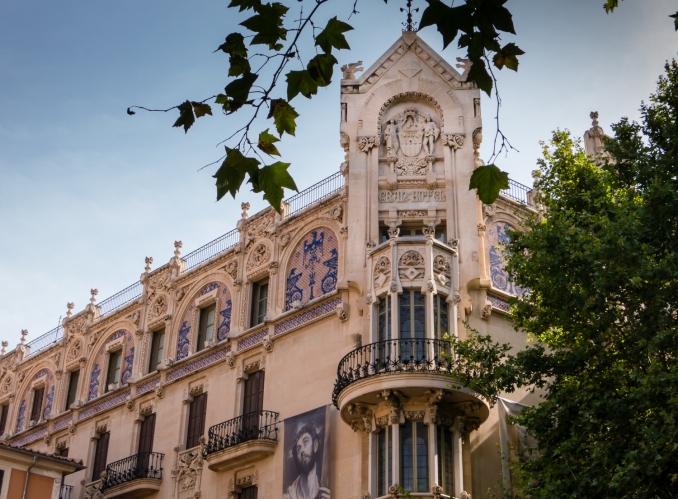 Typical public building architecture, Palma de Mallorca, Mallorca, Spain