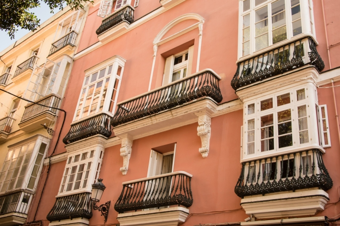 Typical residential building in Casco Antiguo (Old Town), Cadiz, Spain