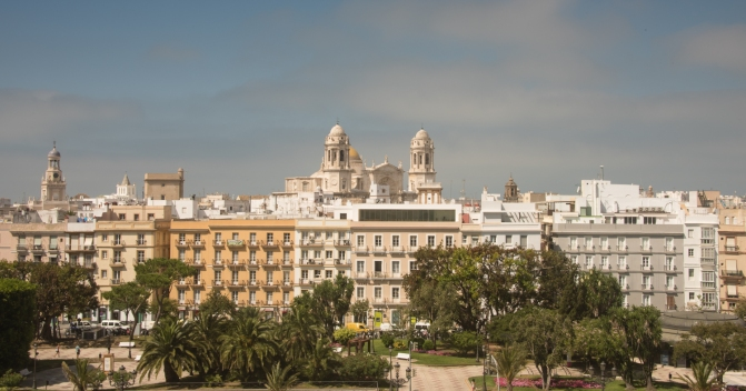 View of Catedral de Cadiz and Casco Antiguo (Old Town) from our ship's apartment balcony, Cadiz, Spain