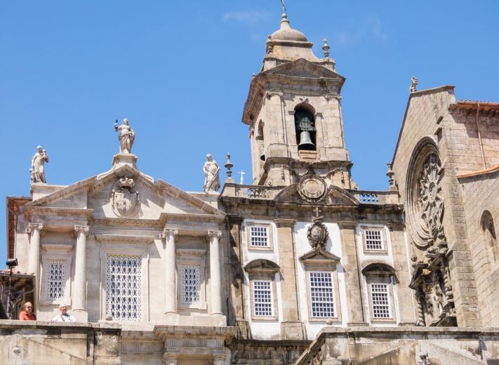 A church above the quay on Rio Douro (Douro River), Porto, Portugal