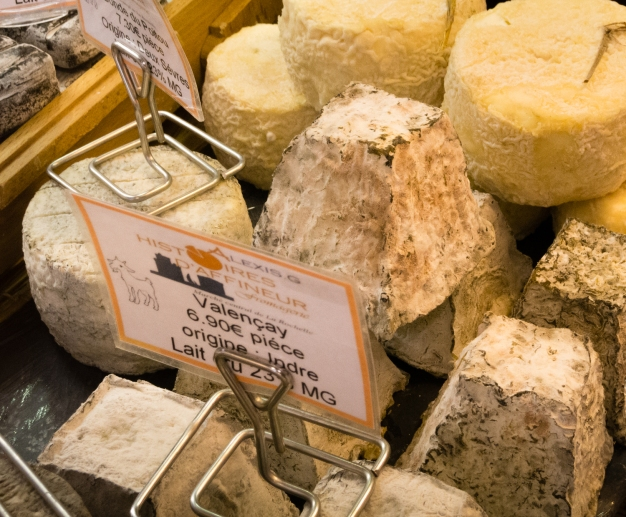 A selection of chèvres (goat cheeses) at Marché Aux Halles (Central Market), La Rochelle, France