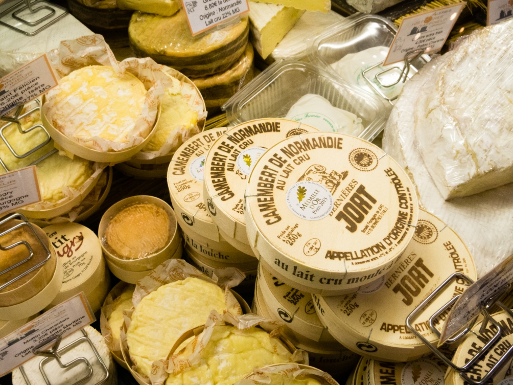 A wide selection of fromages (cheeses) at Marché Aux Halles (Central Market), La Rochelle, France