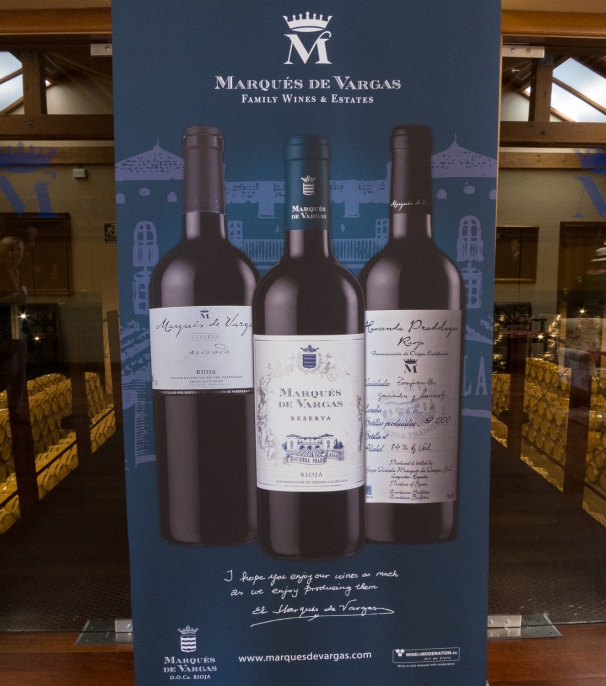 Banner promoting the major releases in front of the barrel aging room at Bodegas del Marques de Vargas, Ebro Valley, Riojas region, Spain