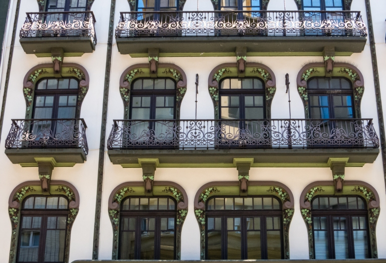 Beautifully decorated facade of residential building in Gijón, Asturias, Spain
