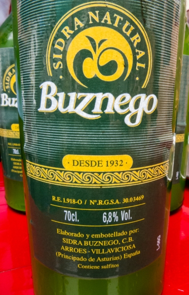 Buznego, a local sidra (apple cider), at a cafe in Tazones, Asturias region (near Gijon), Spain