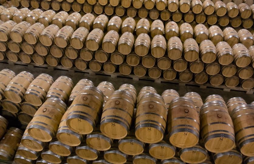 Climate controlled barrel aging room at Bodegas del Marques de Vargas, Ebro Valley, Riojas region, Spain
