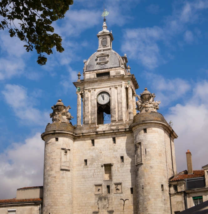 Clock Tower near the La Rochelle fortification towers in Vieux Port (the Old Port neighborhood) in La Rochelle, France