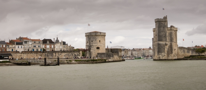 Departing Vieux Port (the Old Port neighborhood) in La Rochelle, France, by electric powered ferry as a storm approaches