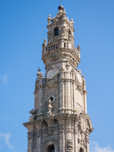 Details of the top of Torre dos Clérigos (Clérigos Tower), Porto, Portugal