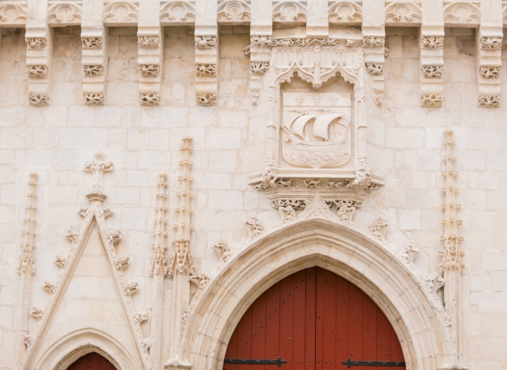Facade detail, Mairie de La Rochelle (Town Hall) in Vieille Ville (Old Town) in La Rochelle, France