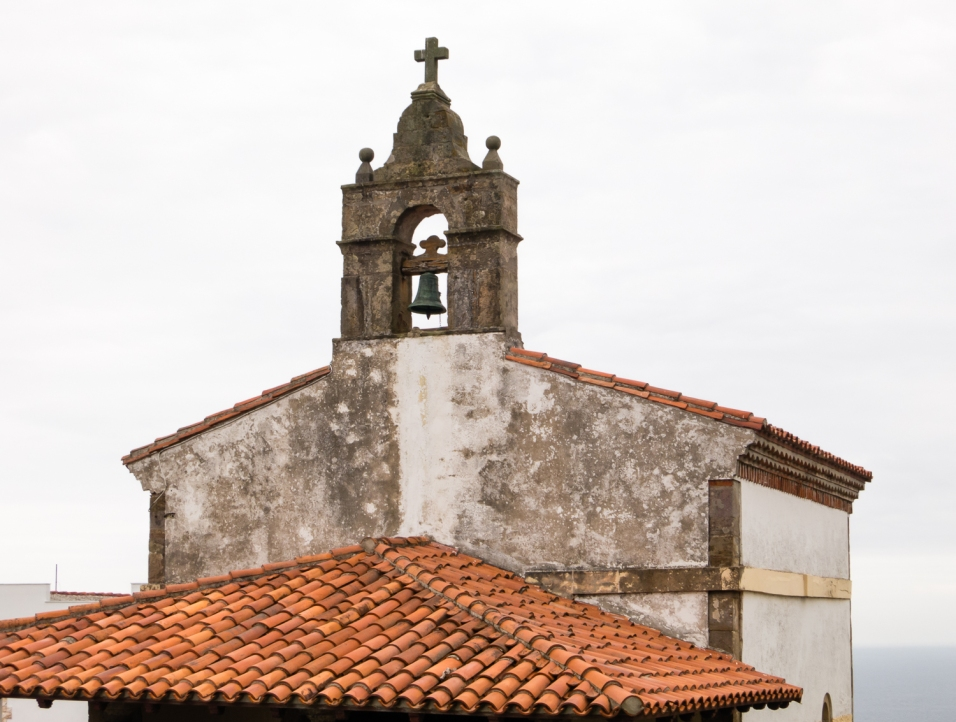 Fishermen's chapel, overlooking Lastres, Asturias region (near Gijon), Spain