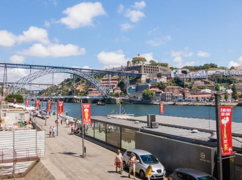 From Praca Ribeira, looking across Rio Douro (Douro River) to the Gala Quay, Porto, Portugal