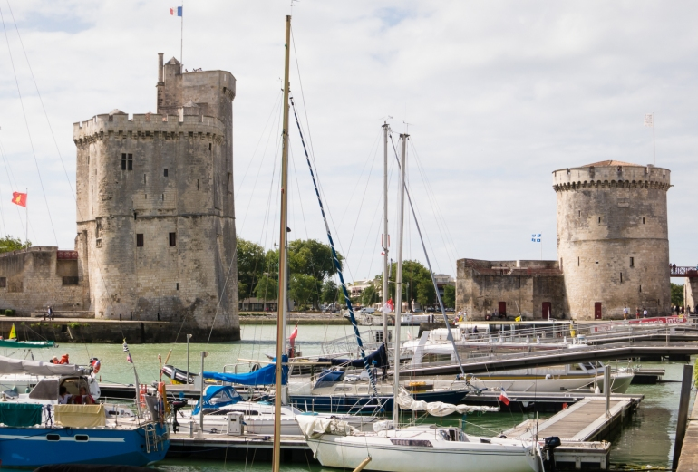 La Rochelle's medieval fortification towers in Vieux Port (the Old Port neighborhood) in La Rochelle, France
