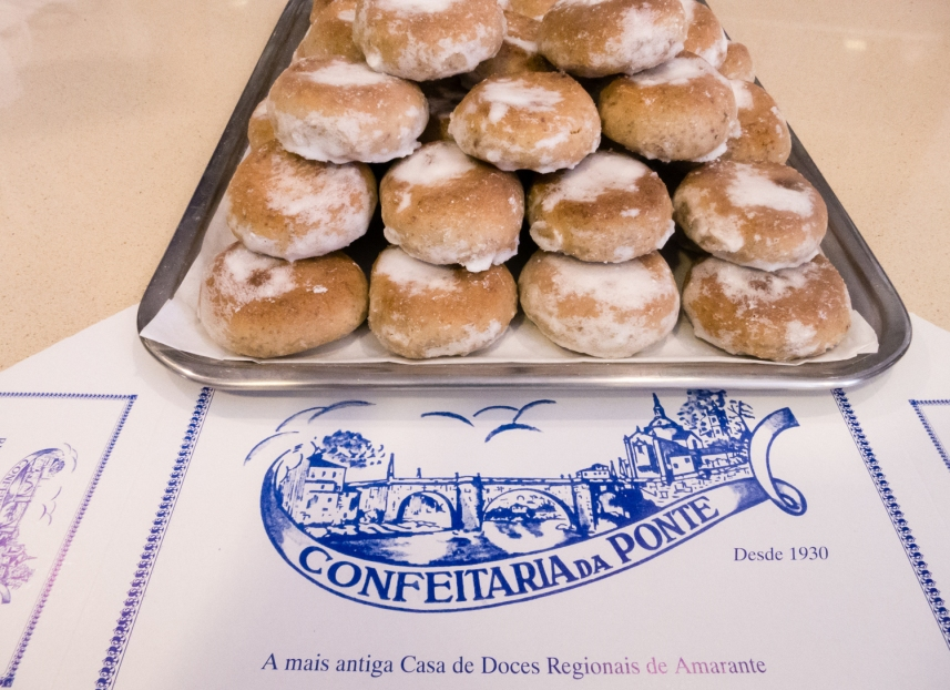 Mid-morning snack -- local specialty pastries enjoyed with coffee, Amarante, Minho region, Portugal