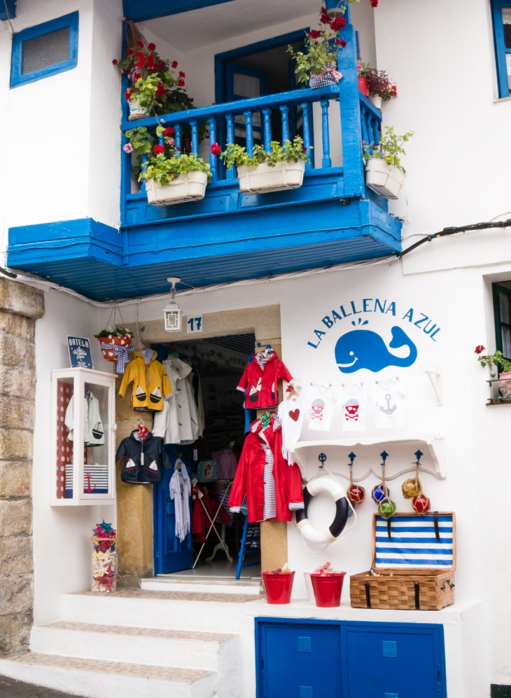 Nautical attire for sale, Tazones, Asturias region (near Gijon), Spain