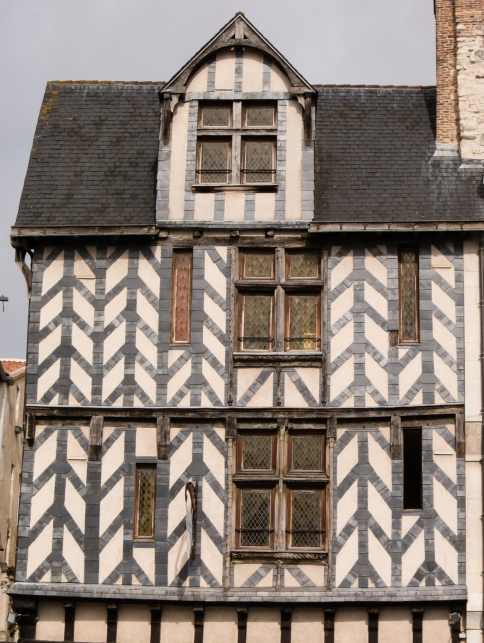Old timbered home in Vieille Ville (Old Town) in La Rochelle, France