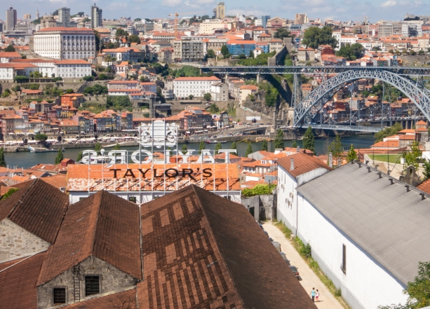 Overlooking the port wine aging warehouses, Rio Douro (Douro River) and central Porto, Portugal
