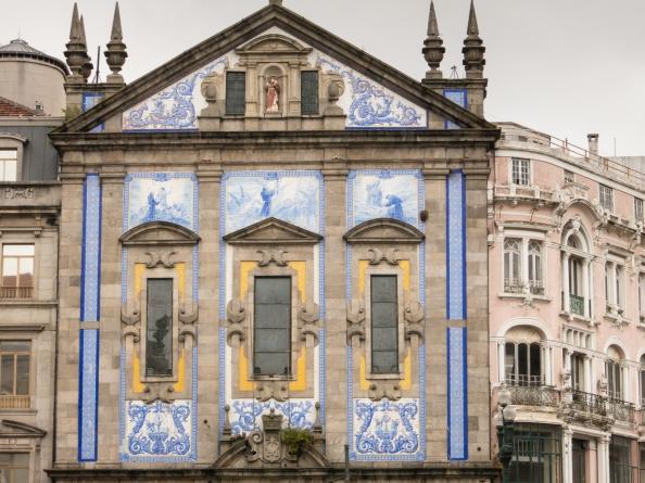 Portuguese tiles decorating facade of church, Porto, Portugal