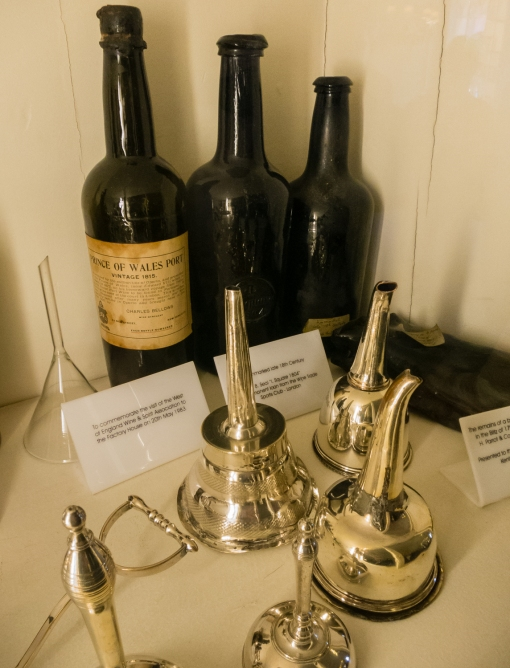 """Prince of Wales Port, Vintage 1815"" -- memorabilia at Feitoria Inglesa (the Factory House, a.k.a. the British Association Factory House), Porto, Portugal"