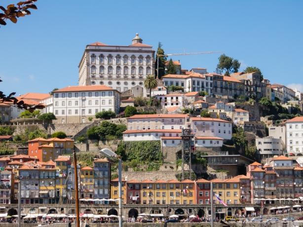 Quay on Rio Douro (Douro River) and terraced residences in central Porto, Portugal