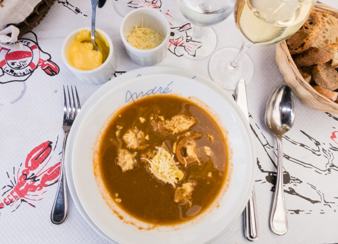 Soupe de Poissons (Fish Soup) with rouille (garlic sauce) at Restaurant Andre in Vieux Port (the Old Port neighborhood) in La Rochelle, France