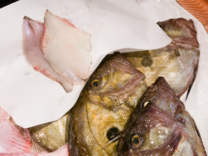 The first two fillets of our two Saint-Pierre (English- John Dory) fishes at Marché Aux Halles (Central Market), La Rochelle, France