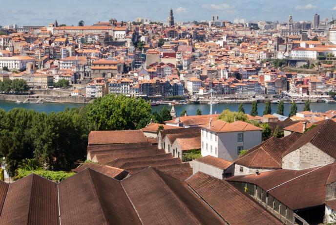 The lodges (port wine aging warehouses) of Villa Nova de Gala, just across Rio Douro (Douro River) from central Porto, Portugal