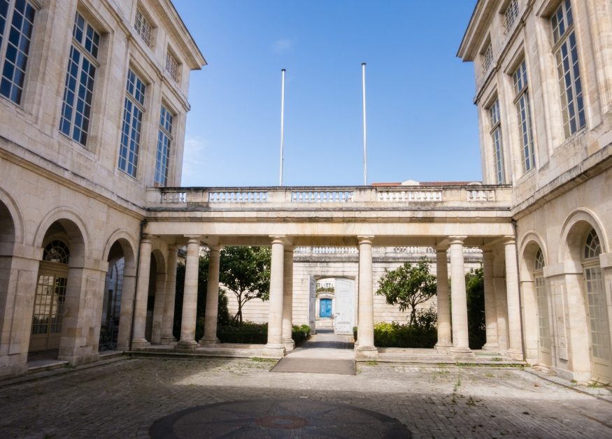 The Stock Exchange (completed in 1785) in Vieille Ville (Old Town) in La Rochelle, France