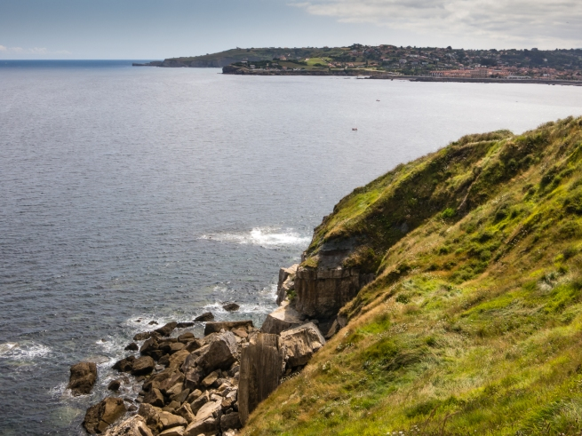 The view to the east, across the Bay of Biscay, from Elogio del Horizonte, Gijón, Asturias, Spain