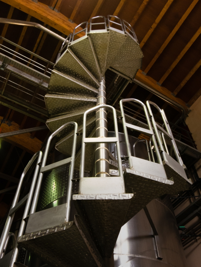 Unique spiral staircase on fermenting tank at Bodegas del Marques de Vargas, Ebro Valley, Rioja region, Spain