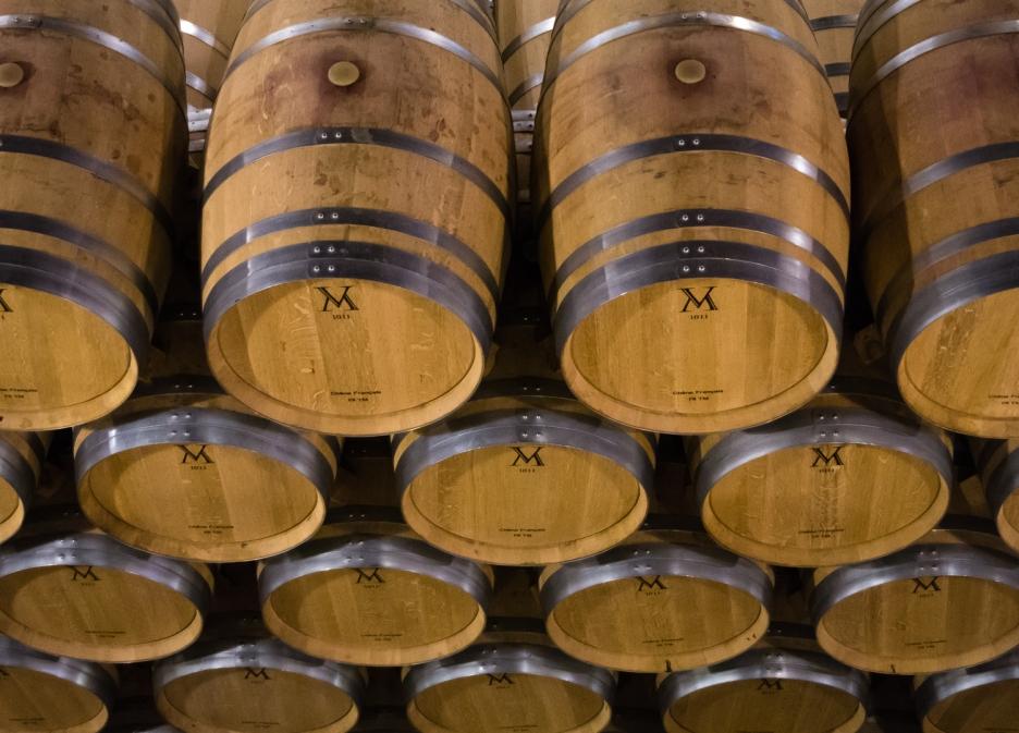 Wine aging in barrels at Bodegas del Marques de Vargas, Ebro Valley, Riojas region, Spain