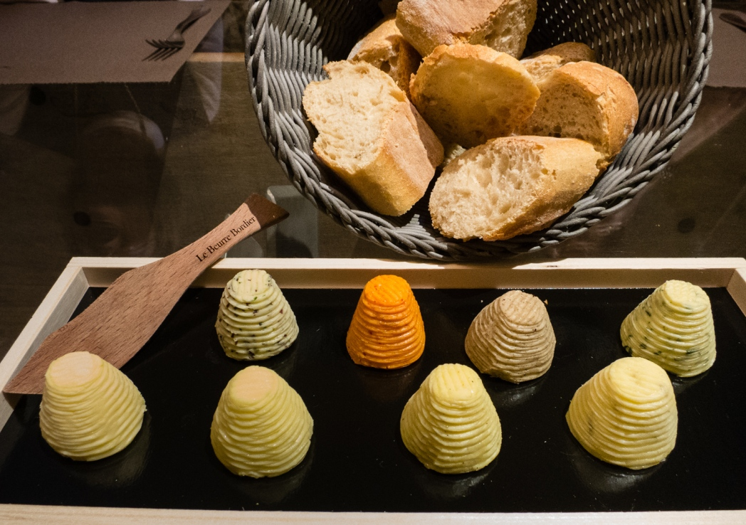 "Beurre (butter) ""tasting"" before our luncheon at Autour du Beurre with Chef Steve Delamaire, Saint-Malo, France"