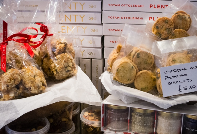 Biscuits and cookbooks at Ottolenghi's Deli, London, England