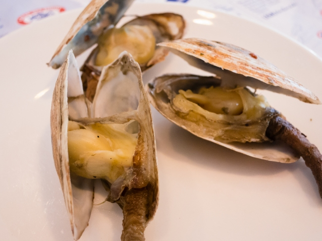 """Closeup of """"Steamers"""" (steamed Ipswich Clams) appetizer at Legal Sea Foods, Cambridge, MA, USA"""