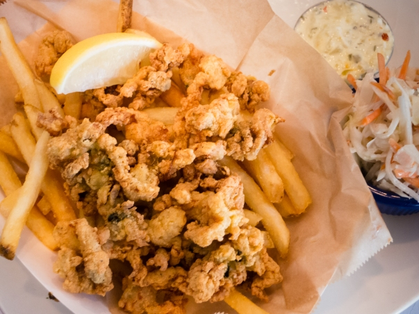 Fried Ipswich Clams appetizer at Legal Sea Foods, Cambridge, MA, USA
