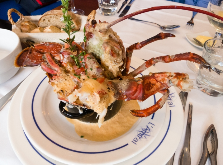 Homard Bleu (blue lobster) special, lobster menu main course at L'Amiral Restaurant, Concarneau, France