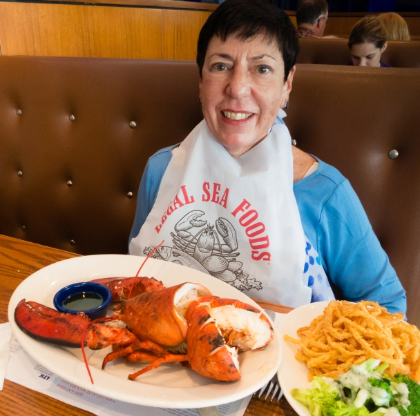 """Is this all (2.5 pounds of Maine lobster) for me?"" at Legal Sea Foods, Cambridge, MA, USA"