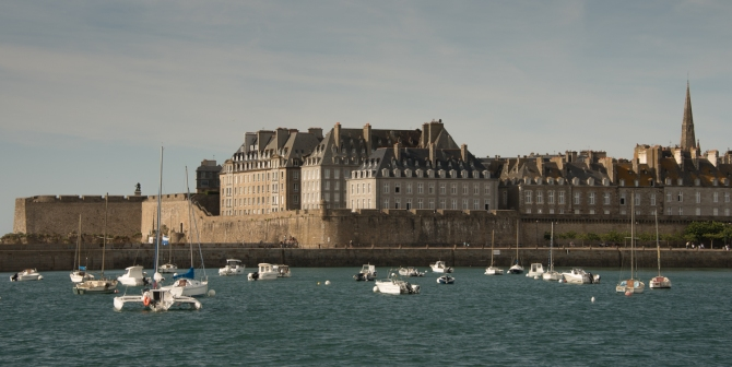 La Ville Intra-Muros (Walled City), Saint-Malo, France, viewed from the west at high tide