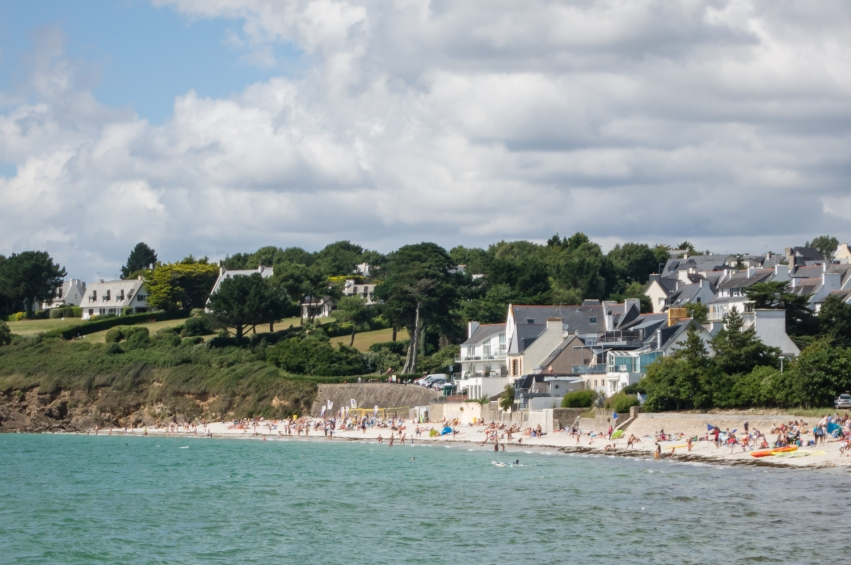 One of several beaches on the coast on the west side of Centre Ville (City Center), Concarneau, France