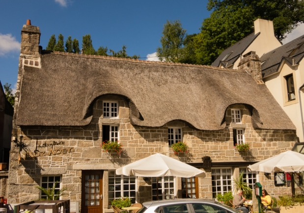 One of the few remaining traditional thatched roof houses, Pont-Aven, Brittany, France