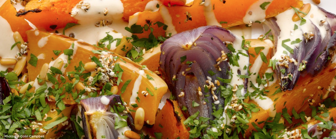 salad: Roast butternut squash and red onion with tahini and za'atar ...