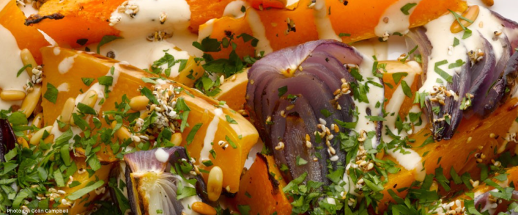 Ottolenghi salad: Roast butternut squash and red onion with tahini and za'atar. Photo by: Colin Campbell, courtesy of the Ottolenghi.com web site